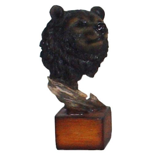 Black Bear Bust on Wood Pedestal
