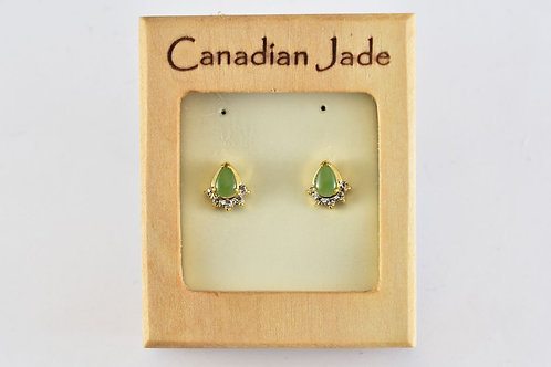 Jade Teardrop with Crystals Earrings