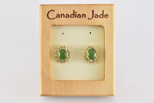 Jade Oval w/ Crystals Earrings