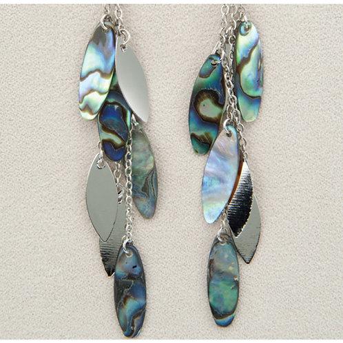 Glacier Pearl Willow Leaves Earrings
