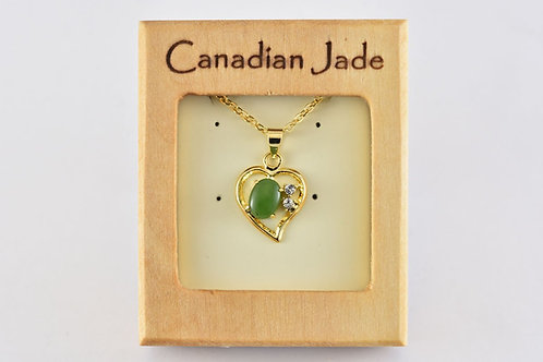 Jade Oval in Heart Pendant w/ Crystals