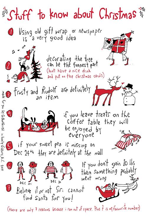 Stuff About Christmas Tea Towel