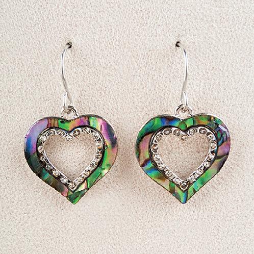 Glacier Pearl Sparkle Heart Earrings