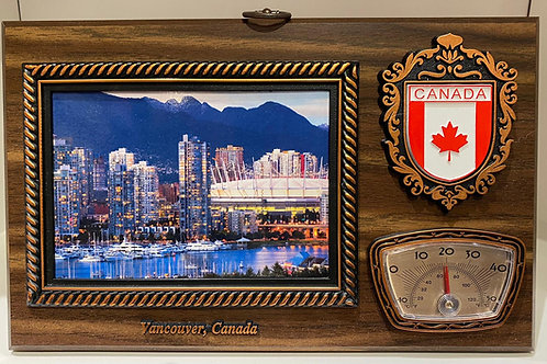 Wood Plaque w/ Thermometer and Postcard