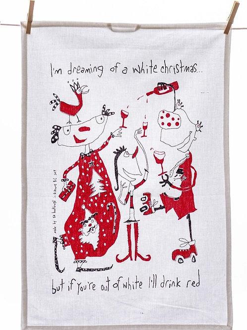 White Christmas Tea Towel