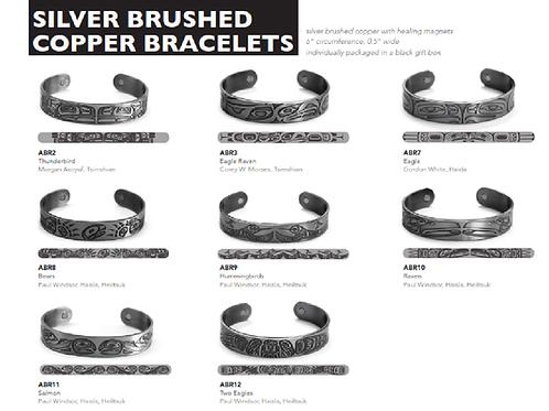 Silver Brushed Copper Bracelets