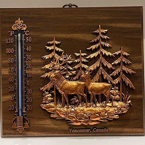 Wood Plaque w/ Thermometer and Elk Family