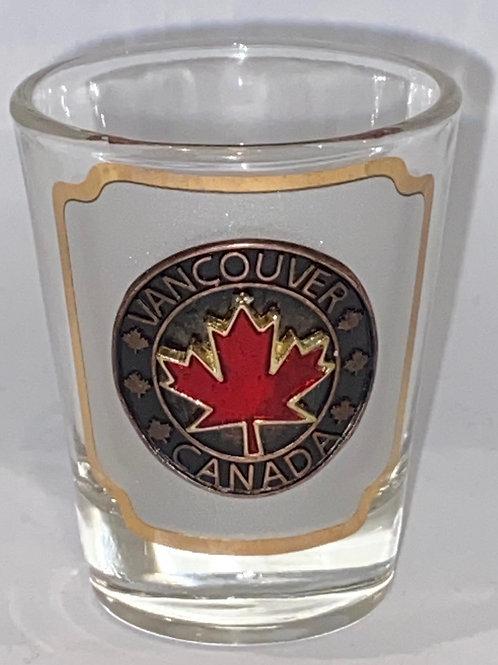 Red Maple Leaf Emblem on Shot Glass