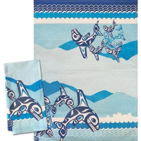 Printed Tea Towel - Orca Family