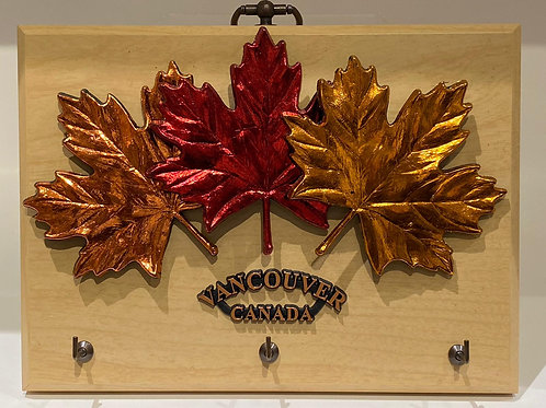 Wood Plaque w/ Keyhooks and Maple Leaves
