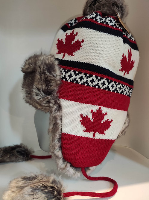 Canadian Knitted Toque / Beanie w/ Ear Flaps