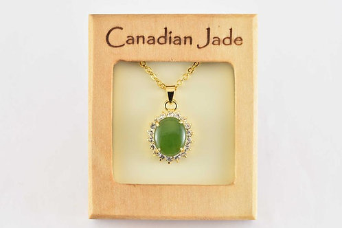 Jade Oval Pendant w/ Crystals (M)