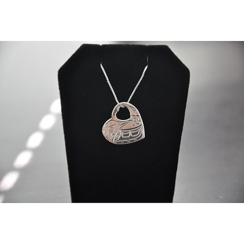 Humming Bird in Heart Pendant with Chain