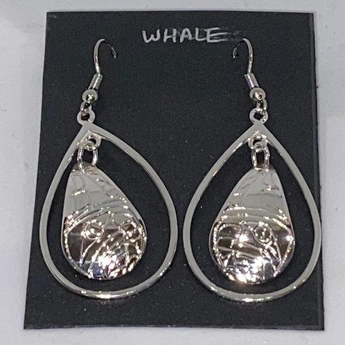 Framed Teardrop  Earrings (Whale)