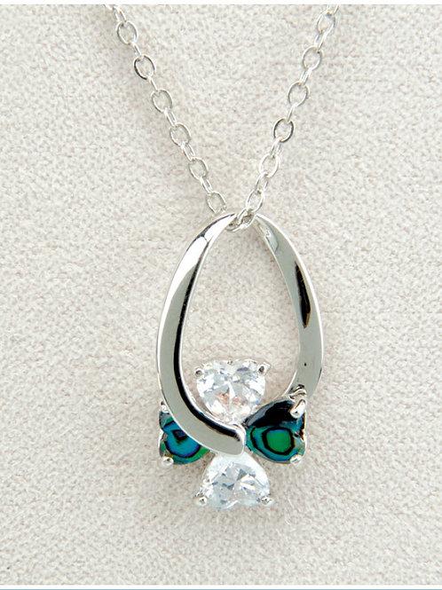 Glacier Pearl Swinging Hearts Pendant