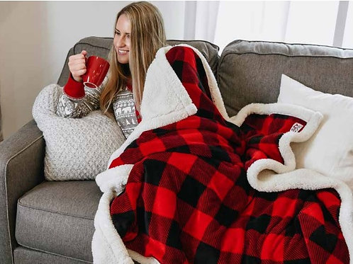 Sherpa Throw Blankets in Plaid