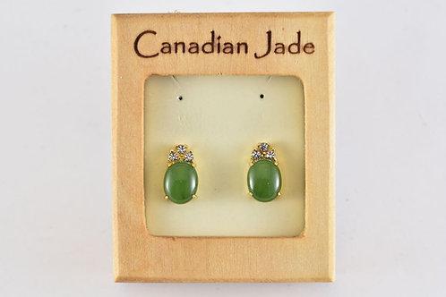 Jade Oval w/ 3 Crystals Earrings