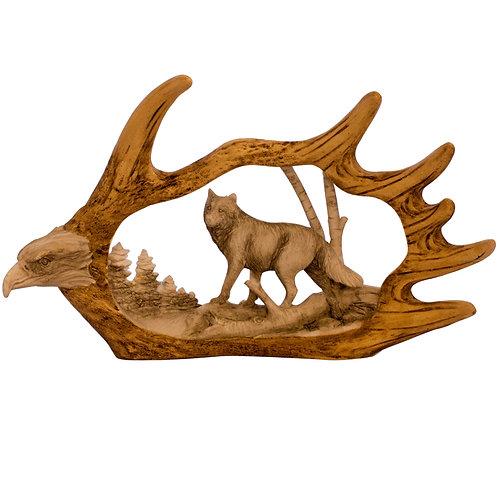 Moose Antler w/ Eagle & Wolf