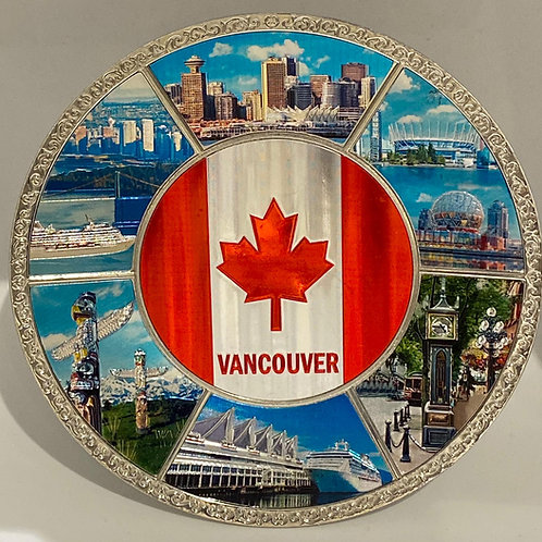Metal Plate - Vancouver with Flag