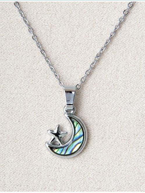 Glacier Pearl Star & Moon Pendant