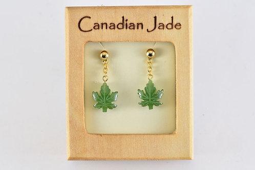 Jade Dangling Maple Leaf Earrings