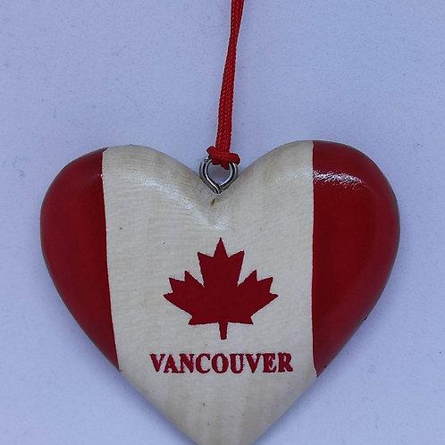 Heart w/ Flag Wood Ornament