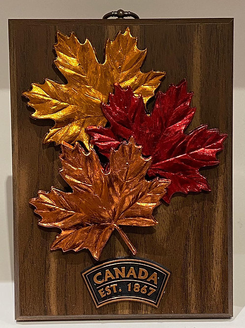 Wood Plaque w/ Trio of Maple Leaves