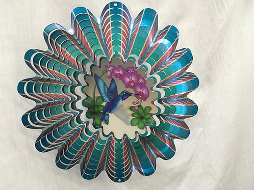 Animated Blue Hummingbird Wind Spinner