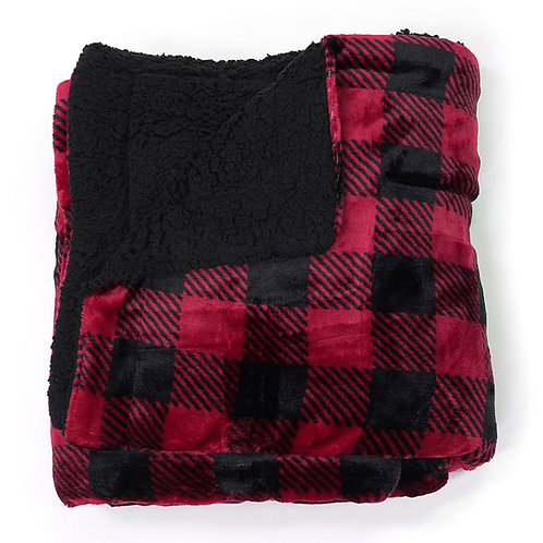 Sherpa Throw Blanket in Plaid