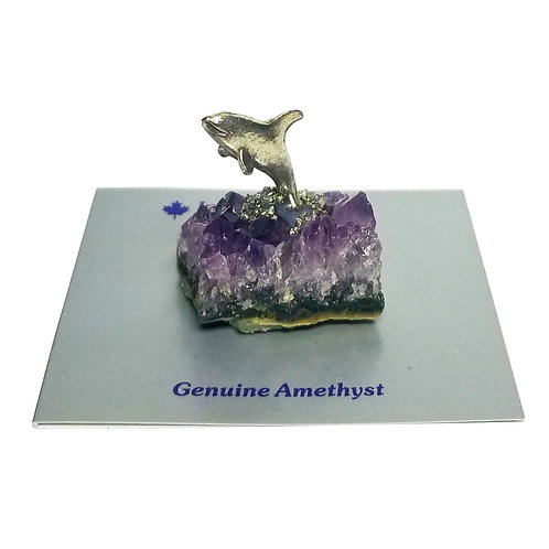 Pewter Whale on Amethyst