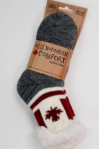 "Kids ""Sherpa-Lined"" Canada Flag Socks"