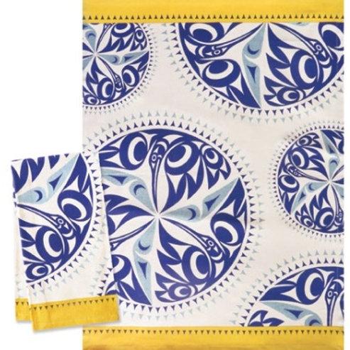 Printed Tea Towel - Hummingbird (Yellow)