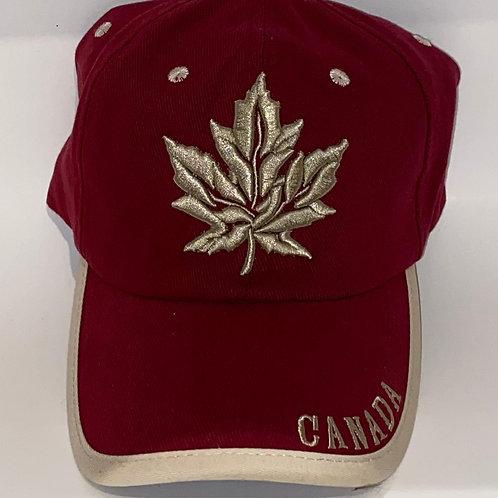 Burgundy Maple Leaf Hat