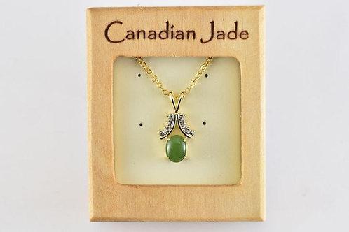 Jade Oval Pendant w/ Crystals