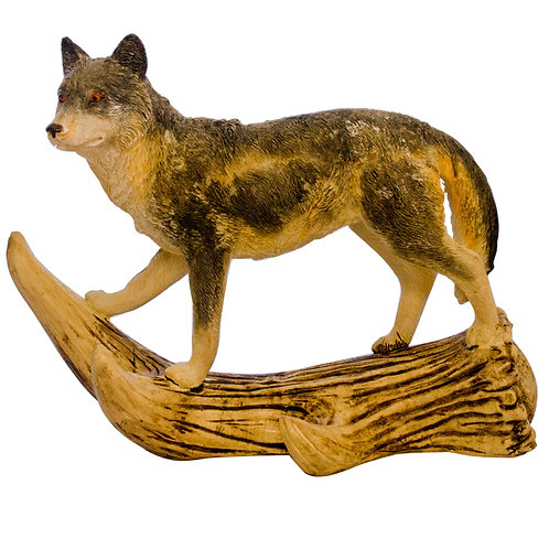 Wolf Walking on Antler