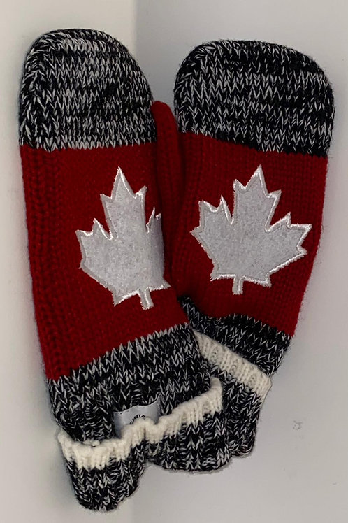 Grey/Red Maple Leaf Mitts