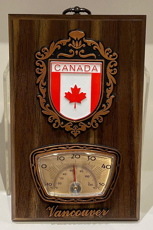 Wood Plaque w/ Flag Shield and Thermometer