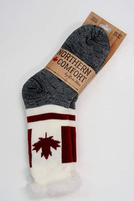 "Adult ""Sherpa-Lined"" Canada Flag Socks"