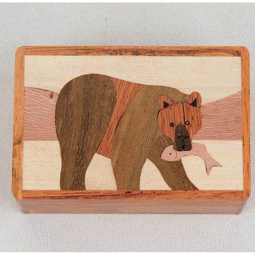 Bear w/ Fish Wood Box - Northwoods