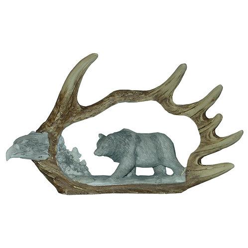 Moose Antler w/ Eagle & Bear