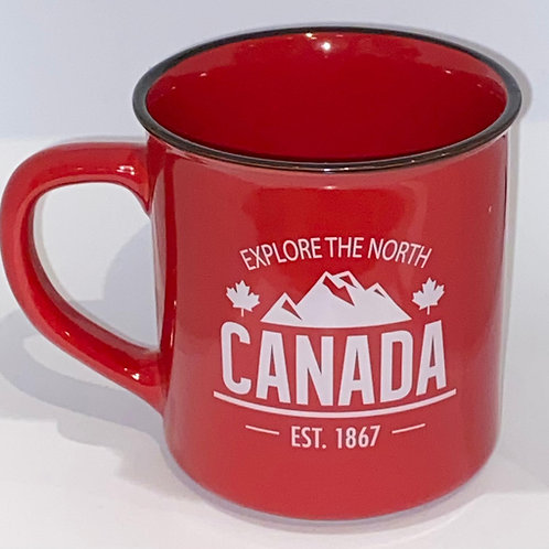 Red Explore The North (Camp style) Coffee Mug