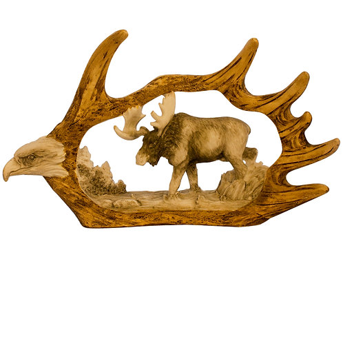 Moose Antler w/ Eagle & Moose
