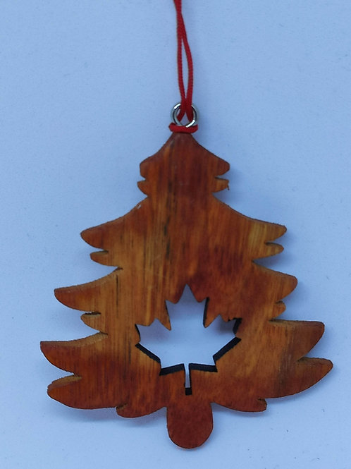 Christmas Tree w/ Maple Leaf Cut Out Ornament