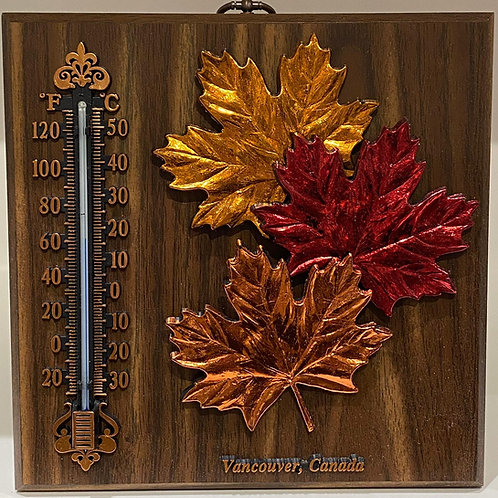 Wood Plaque w/ Thermometer and Maple Leaves
