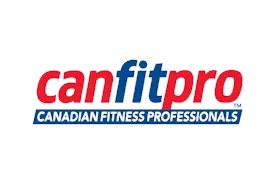 The certification logo of canfitpro,  an educator of fitness professionals.