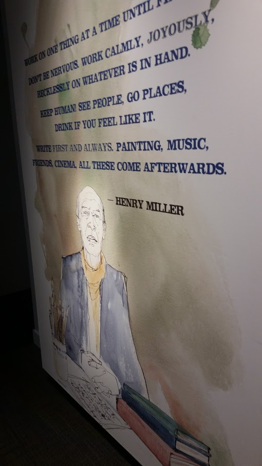 """""""Work on one thing at a time until finished. Don't be nervous. Work calmly, joyously, recklessly on whatever is in hand. Keep human! See people, go places, drink if you feel like it. Write first and always. Painting, music, friends, cinema, all these come afterwards."""" - Henry Miller"""