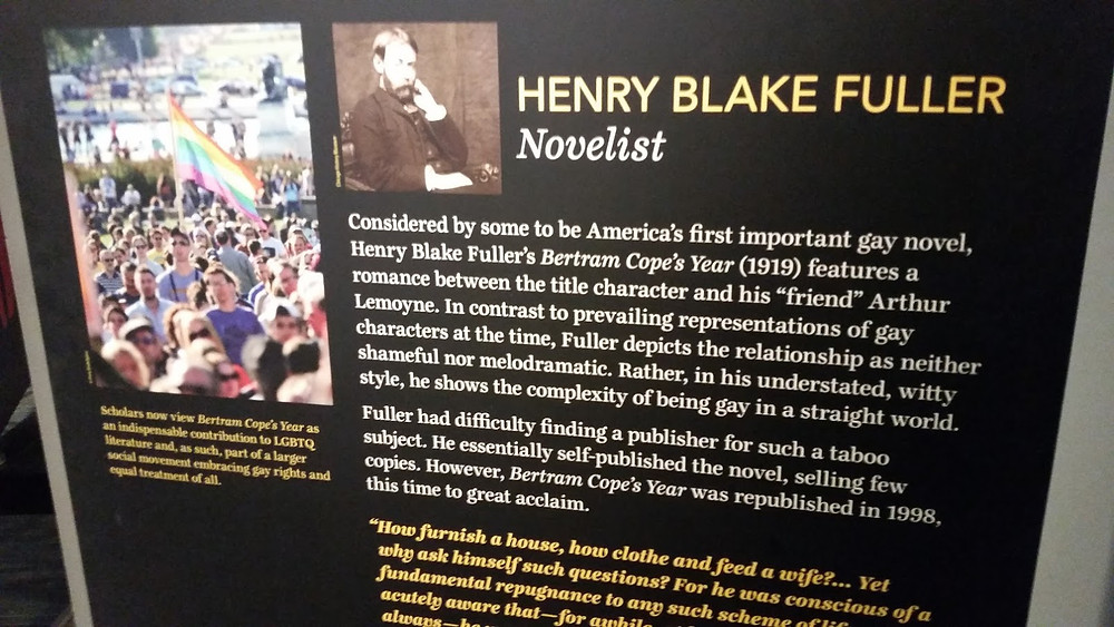 """""""Considered by some to be America's first important gay novel, Henry Black Fuller's Bertram Cope's Year (1919) features a romance between the title character and his 'friend' Arthur Lemoyne...Fuller depicts the relationship as neither shameful nor melodramatic...he shows the complexity of being gay in a straight world."""""""