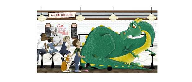 Dragon in an ice cream shop