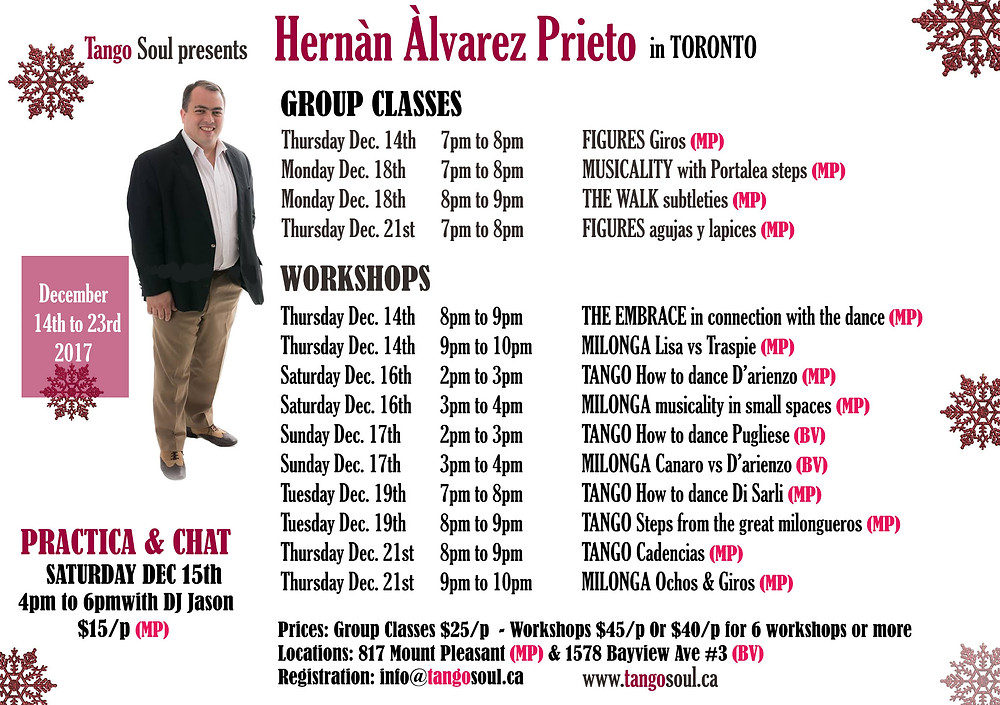 Hernan Prieto's full schedule