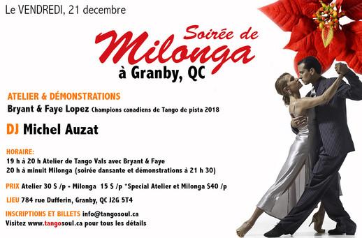 Soirée de Milonga à Granby 21 décembre